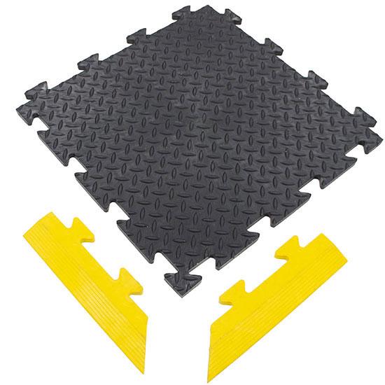 Black Diamond Plate MotoMat Temporary Floor Tile