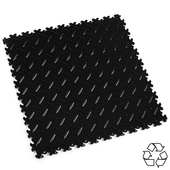 Black Recycled Diamond Plate Floor Tile For Your Office