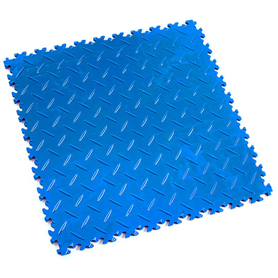 Electric Blue Diamond Plate Floor Tile For Your Gym