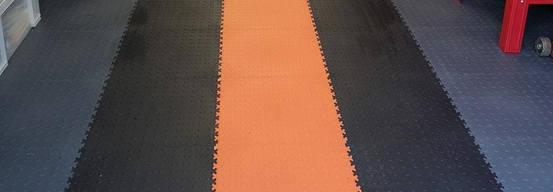Grey shades and Orange Diamond Plate Temporary Floor Tiles