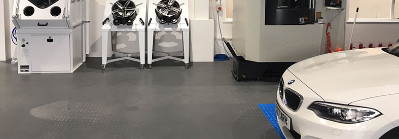 Grey and Blue Diamond Plate Factory Floor Tiles