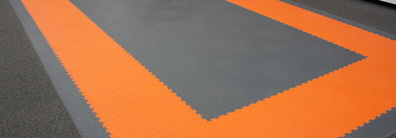 Orange and Grey Diamond Plate Home Gym Floor Tiles