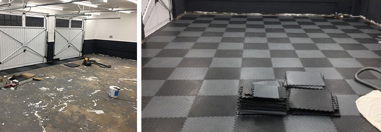 Mid Grey And Black Recycled Diamond Plate Garage Tiles