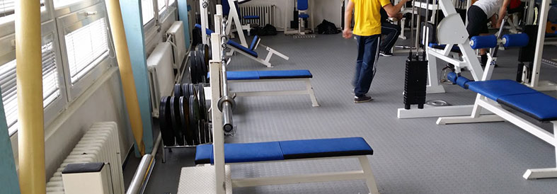 Recycled Light Grey Diamond Plate Gym centre Floor