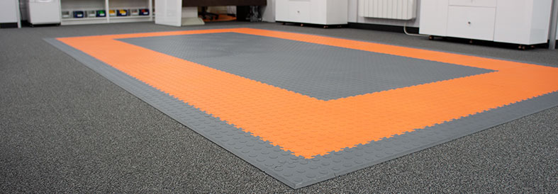 Grey, Orange Cointop and Diamond Plate Office Floor Tiles