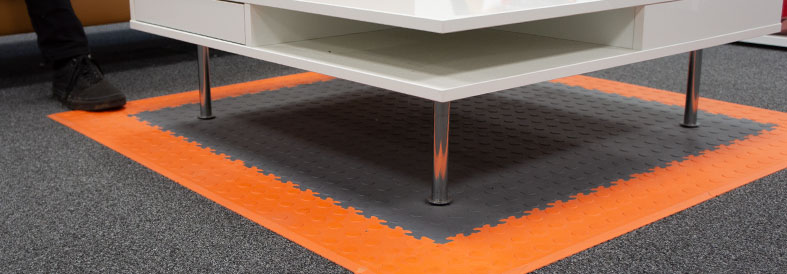 Highlight ares with Grey, Orange Cointop and Diamond Plate Office Floor tiles