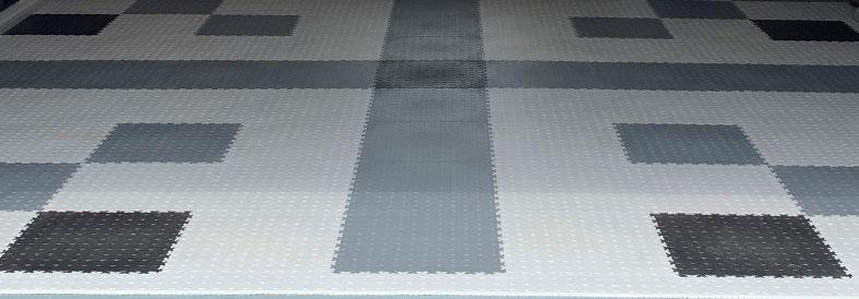 Grey Diamond Plate Shop Floor Tiles