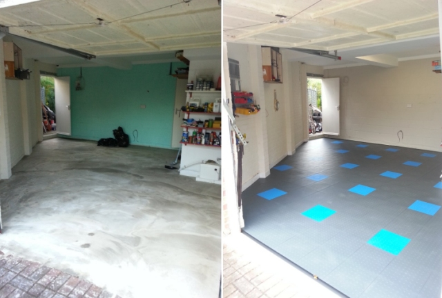 Concrete floor before and after Mototile interlocking flooring laid.