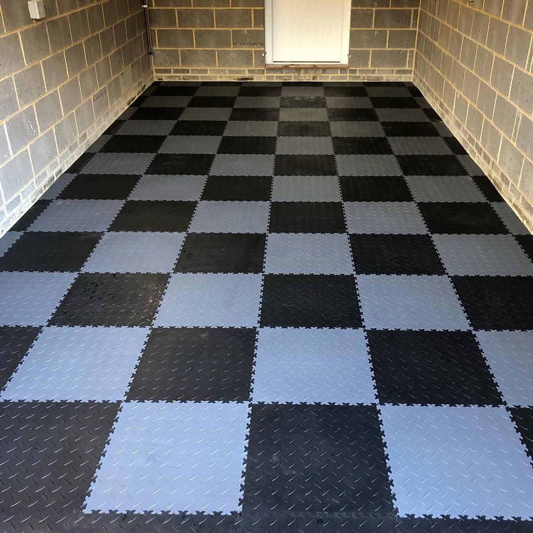 Photo of completed garage floor tiles