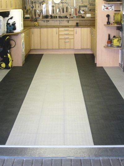 Utility room flooring using Mototile Tiles.