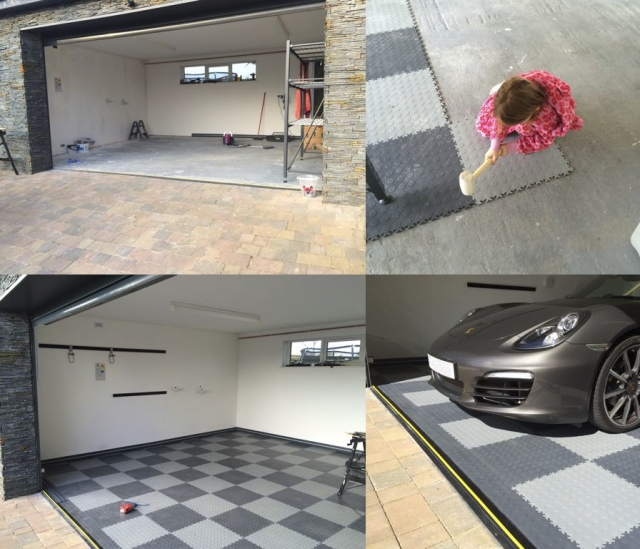 Two tone grey garage floor.
