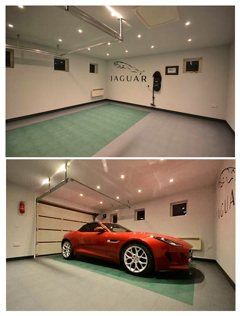 Jaguar on Racing Green and Grey Tile Floor.