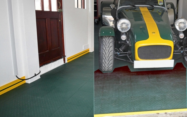 Racing Green garage floor with yellow skirting.