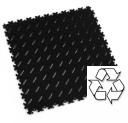 Black Motolock Recycled PVC Interlocking Floor Tile
