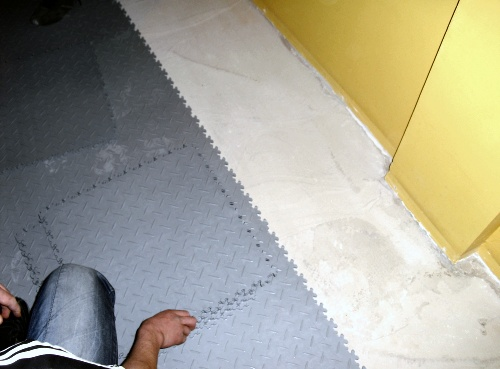 Typical floor conditions for tile laying.
