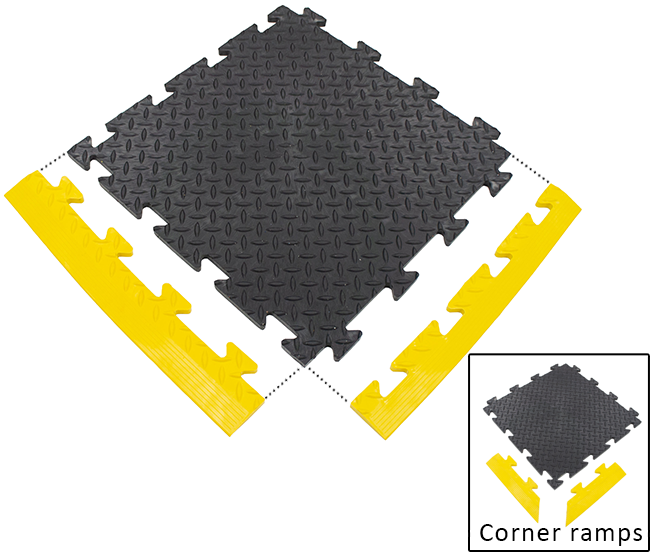 Coin-Top and Checker-Plate 500mm PVC interlocking floor tiles.