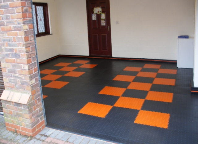 Black and Orange pattern garage floor.