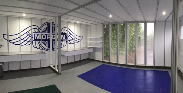 Morgan themed bespoke garage using MotoLock tiles.