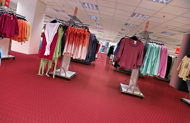 Interlocking flooring for retail premises.