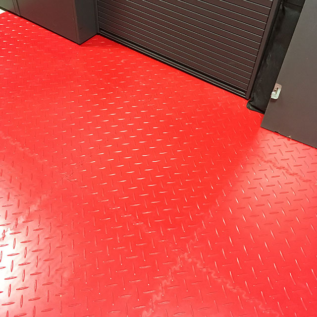 Small Car Garage using the Red MotoLock Tile range