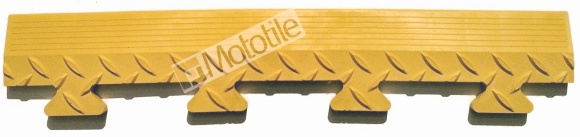 Edge ramp for 500mm flooring in safety yellow.