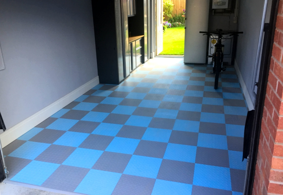 blue floor tiles kitchen garage floor makeover and projects gallery 4806